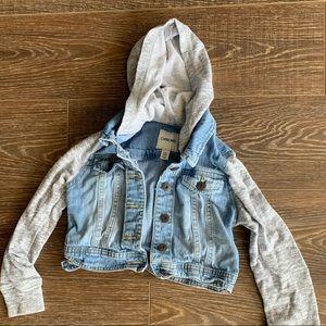 Girls Size 6 Jean jacket with sweatshirt sleeves